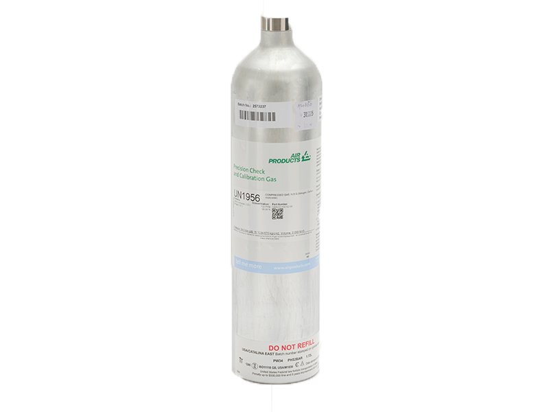 20ppm Hydrogen Sulphide, 60ppm Carbon Monoxide, 1.45% Methane and 15% Oxygen in Nitrogen Calibration Mixture