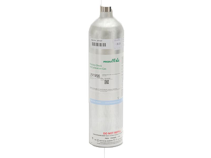 25ppm Hydrogen Sulphide, 100ppm Carbon Monoxide, 0.5% Carbon Dioxide, 2.2% Methane and 18% Oxygen in Nitrogen Calibration Mixture